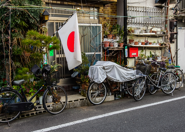 Japanese flag and bicycles