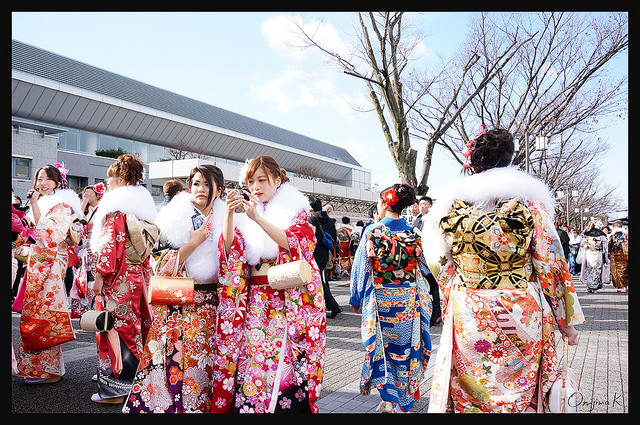 Japanese girls dressed in furisode kimono for Coming of Age Day