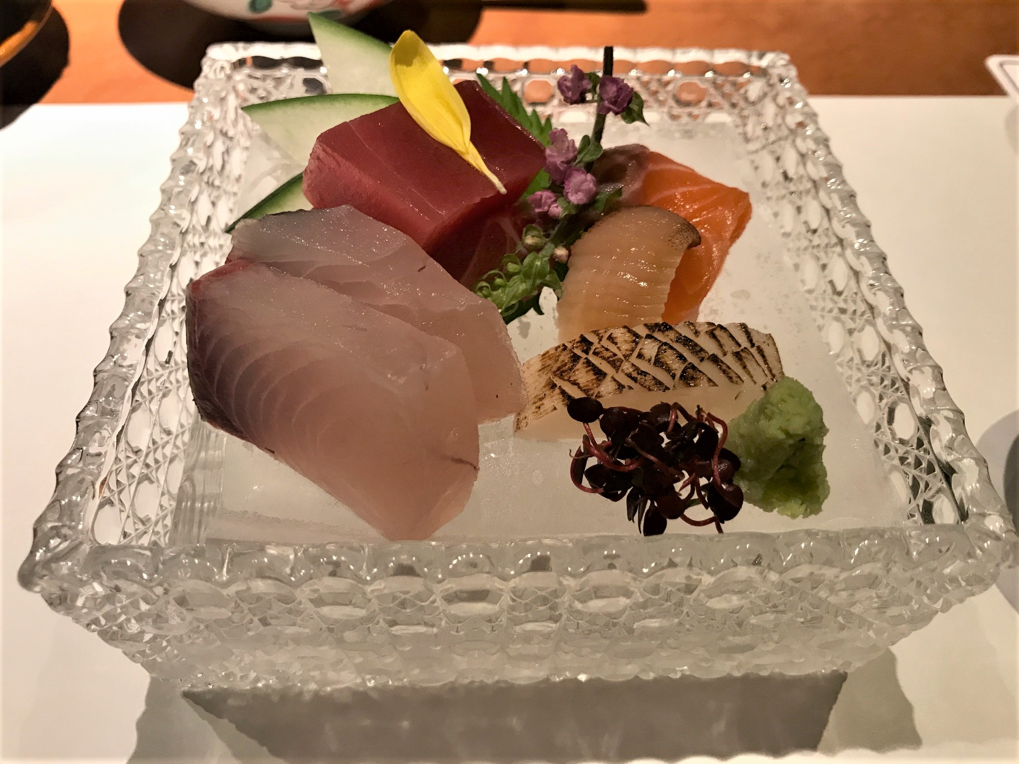 sashimi-and-wasabi-on-crystal-plate
