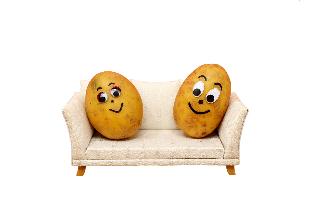 2 smiling potatoes sitting on the couch