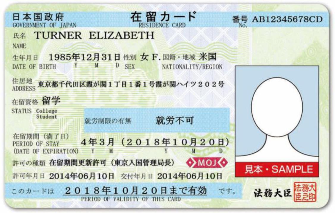 Sample residence card