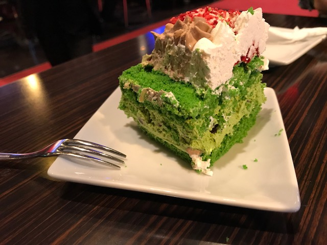 A crazy cross section of a green tea birthday cake
