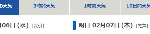 rokuyou old Japanese days of the week on weather forecast